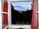 Blick aus dem Hüttenfenster